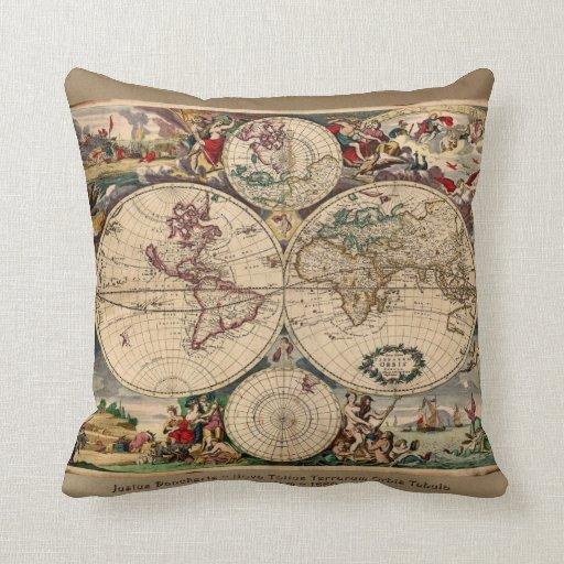 Vintage Old World Map Decor Cushion Pillow