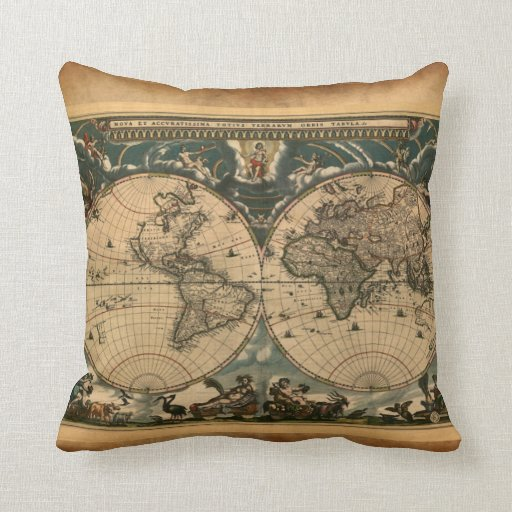 World Map Rug Ebay: Vintage Old World Map Decor Cushion Throw Pillow