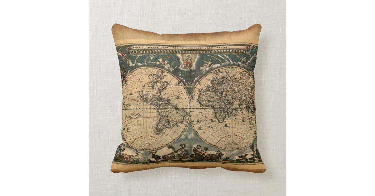 Vintage Old World Map Decor Cushion Throw Pillow Zazzle