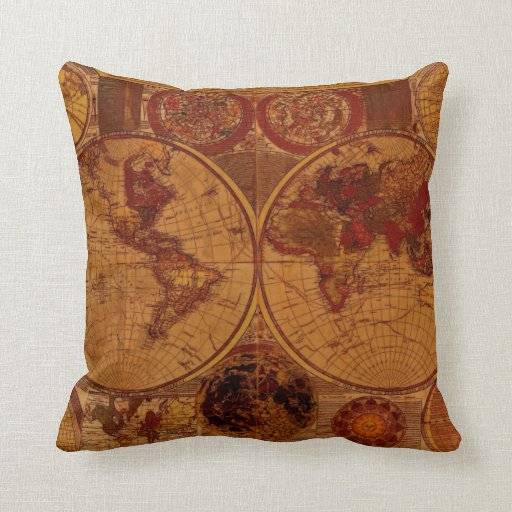 Vintage Old World Map Decor Cushion Throw Pillow