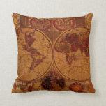 Vintage Old World Map Decor Cushion Throw Pillow