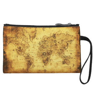 Vintage Old World Map Designer Wristlet