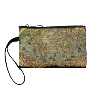 designer coin purse wiie  Vintage Old World Map Designer Coin Purse