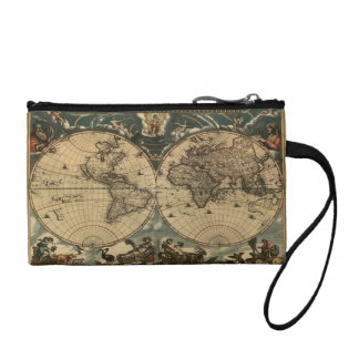 Vintage Old World Map Designer Coin Wallets