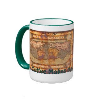 Vintage Old World Map Driver's Drinking Mug