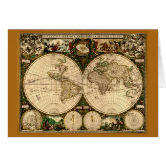 Vintage Old World Map Greeting Card