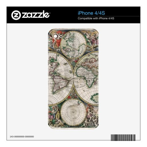 Vintage Old World Map Historic Electronics Skins Decals For The iPhone 4
