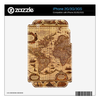 Vintage Old World Map Historic Electronics Skins Decal For The iPhone 3GS
