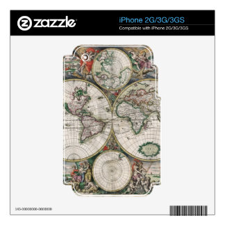 Vintage Old World Map Historic Electronics Skins iPhone 3G Decal