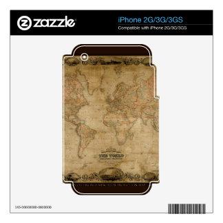 Vintage Old World Map Historic Electronics Skins iPhone 3G Skin