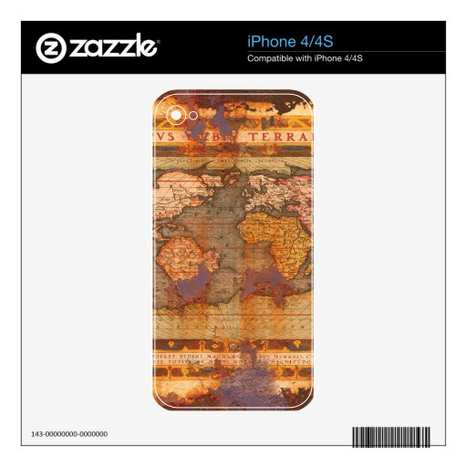 Vintage Old World Map Historic Electronics Skins Decal For iPhone 4