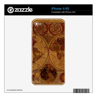 Vintage Old World Map Historic Electronics Skins iPhone 4 Decals