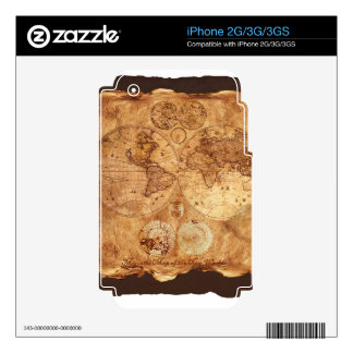 Vintage Old World Map Historic Electronics Skins Skins For The iPhone 3