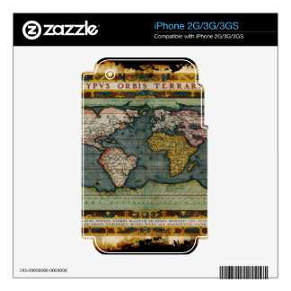 Vintage Old World Map Historic Electronics Skins Decals For iPhone 3G