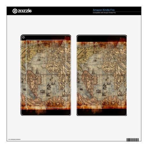 Vintage Old World Map Historic Electronics Skins Kindle Fire Skins