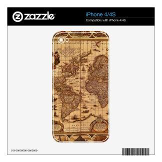 Vintage Old World Map Historic Electronics Skins iPhone 4S Skins