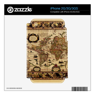 Vintage Old World Map Historic Electronics Skins Decals For The iPhone 2G