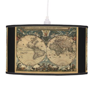 Vintage Old World Map History-buff Ceiling Lamps