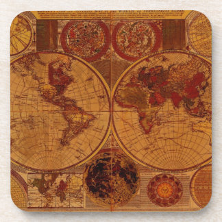 Vintage Old World Map History-buff Coaster