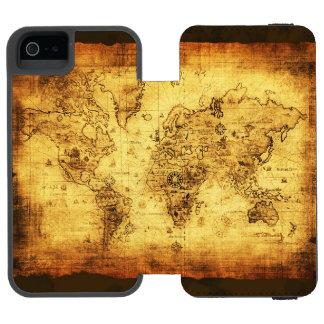 Vintage Old World Map History-buff Designer Wallet Case For iPhone SE/5/5s