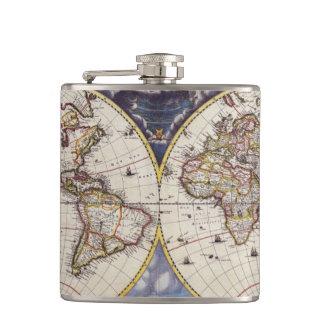 Vintage Old World Map History-buff Flask