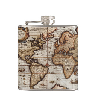 Vintage Old World Map History-buff Hip Flask