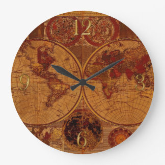Vintage Old World Map History-buff Large Clock