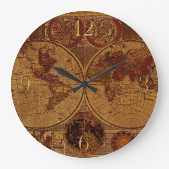 Vintage Old World Map History-buff Large Clock