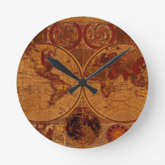 Vintage Old World Map History-buff Round Clock