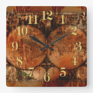 Vintage Old World Map History-buff Square Wall Clock