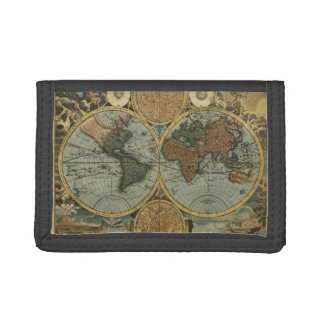 Vintage Old World Map History-buff Trifold Wallet