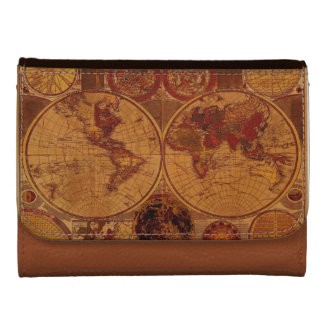 Vintage Old World Map History-buff Wallets
