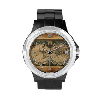 Vintage Old World Map History-buff Wristwatches