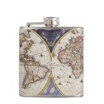Vintage Old World Map History-lover Hip Flasks