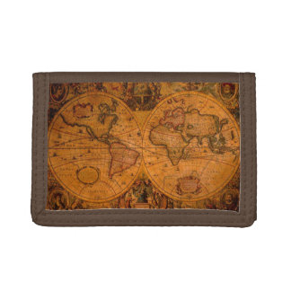 Vintage Old World Map History-lover Tri-fold Wallets
