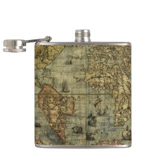 Vintage Old World Map History-lover's Flask