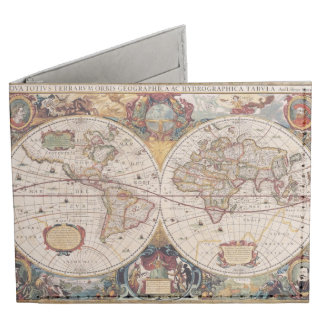 Vintage Old World Map History-lover's Gift Billfold Wallet
