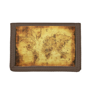 Vintage Old World Map History-lover's Gift Tri-fold Wallets