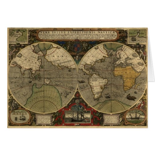 Vintage Old World Map History Series Greeting Card