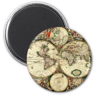 Vintage Old World Map Magnet