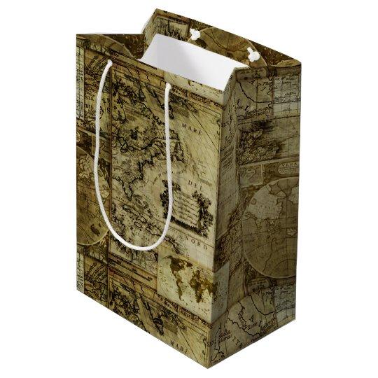 World Map Gift Bags.Vintage Old World Map Medium Gift Bag Zazzle Com