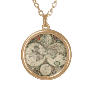 Vintage Old World Map Necklace