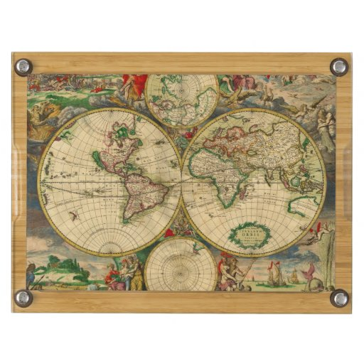 Vintage old world Map Rectangular Cheeseboard
