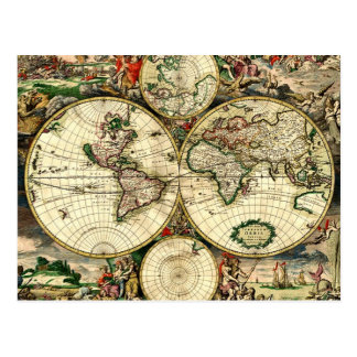 Vintage Old World Map Postcard