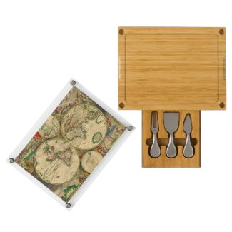 Vintage old world Map Rectangular Cheeseboard