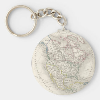 Vintage old world map - The Americas Keychain