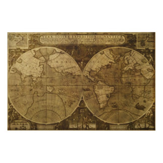 Vintage old world Maps Antique maps Wood Canvas
