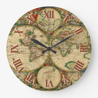 Vintage old world Maps Wall Clock