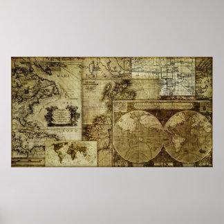 Vintage old world Maps (LRG HI RES) Poster