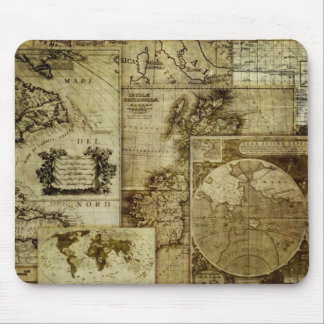 Vintage old world Maps Mouse Pad
